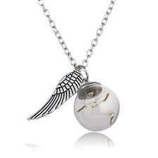 Movie Harry Potter Wing Dandelion Seeds Glass Bottle Ball Pendant Necklace Gifts