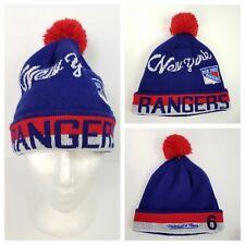 NHL New York Rangers Mitchell & Ness Winter Hat Beanie Toque Pompom Fleece Lined