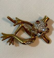 Vintage Signed Attwood & Sawyer Frog w/ Cigar Austrian Crystal & Gold Plate~Mint