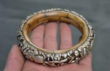 "4"" Tibet Silver inlay Cattle Bone Auspicious Bracelet Bangle Wristlet Circlet"