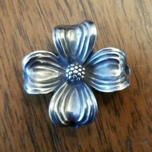 James Avery Retired Sterling Silver Dogwood Pendant and Pin