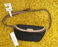 CALVIN KLEIN Brown Beige Logo Waist Belt Bum Bag  Festival Holiday Size M/L