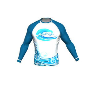 HighType Blue Wave Long Sleeve Rash Guard Surfing, Beach Sports