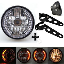 "Universal 7"" Motorcycle Bike LED Headlight Turn Signal Light Black Bracket Mount"