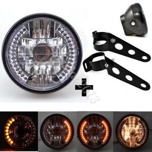"Universal 6.5"" Motorcycle LED Headlight Turn Signal Light Black Bracket Mount"