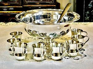 FABULOUS VINTAGE SILVER PLATED LARGE PUNCH BOWL W / LADLE  & 8 CUPS RAINLEIGH