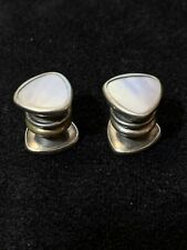 Kum-A-Part Cufflinks By Bear & Wilde Art Deco Silver Tone Mother of Pearl