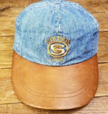 VTG Stetson Hat Leather Denim Brown Country Strapback Baseball Cap Western 1990s
