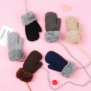 Finger Warm Baby Kids Boys Girls Thick Knitting Mittens Plus Velvet Kids Gloves