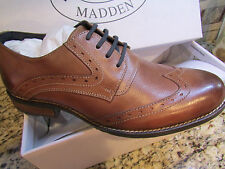 NEW STEVE MADDEN HIGGGENS WINGTIP OXFORD COGNAC SHOES MENS 8 LEATHER FREE SHIP