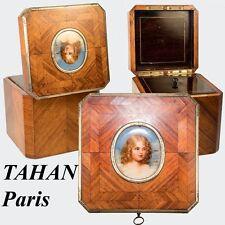 RARE Antique French Tea Caddy, Portrait Miniature Napoleon's Son, TAHAN, Paris