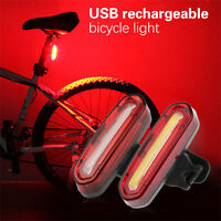 Rechargeable USB White&Red Bicycle Tail Light Waterproof 6Modes COB led Tailight