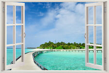 Huge Window Wall sticker Beach Living Room Wallpaper Vinyl Decor 3d Mural Art Ho