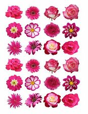 24 icing fairy cake toppers decorations edible Mixed Dark pink Flowers ND1