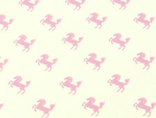 Pink/Cream HORSE FABRIC cotton pony ponies childrens craft kitsch cute girls 1m