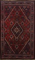 Vintage Geometric Traditional Hand-Knotted Red Area Rug Oriental Carpet 4x7 Wool