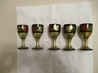 Vintage 1970s  Set of 5  Russian  Wood Shot Cups