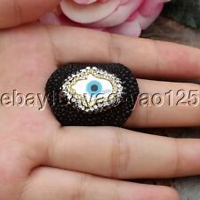 K072811 White Shell Hamsa Evil Eye Black Leather Bangle Ring