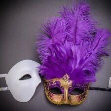 Venetian Couple Masks Set White Phantom Opera Gold Feather Masquerade Costume