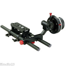 NEW Filmcity Rail System 15mm Rod Baseplate+ A/B Stop Follow Focus for DSLR Rig
