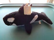 "ORCA WHALE KILLER WHALE SHAMU 10"" STUFFED PLUSH ANIMAL BLACK AND WHITE NWT"
