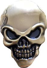 Set - 2 3D Car Auto Emblem Sticker Decal Skull Head Antique Gold Interior Exter