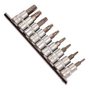 "10PC 3/8"" TORX TORQUE STAR SOCKET BIT SET T10 T15 T20 T25 T30 T40 T45 T50 T55"