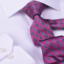 """Pink Floral Tie 3"""" Blue Floral Necktie Round Pattern Designer Luxury Fashion"""