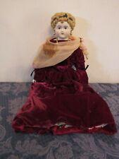 "Antique China Head Doll Big Blond Hair Original 21"" Tall"