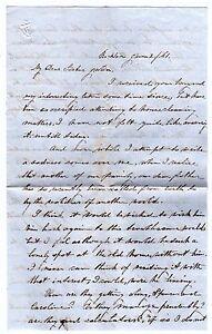 RARE Manuscript Letter Woman Desribes BREAST CANCER & Civil War 1861 Rockton IL