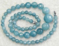 Faceted 6-14mm Natural Brazilian Aquamarine Round Gemstone Beads Necklace 18''
