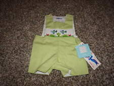NWT NEW BOUTIQUE SILLY GOOSE 3M 3 MONTHS GINGHAM FISH ROMPER BUBBLE SMOCKED