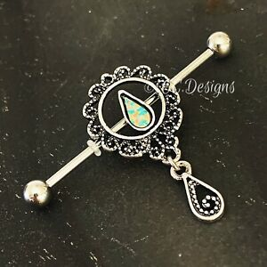 14g Sparkle Dangle Resin Doplet Flower Sun Boho Industrial Bar (#411)