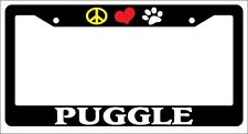 Black License Plate Frame Peace Love Paw Puggle Auto Accessory 534