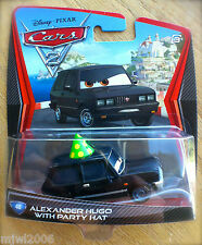 Disney PIXAR Cars 2 ALEXANDER HUGO WITH PARTY HAT #48 RARE diecast KMART DAY 9