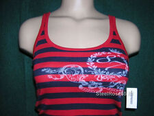 NEW Aeropostale Junior Girls Red & Navy Blue Striped Ribbed Tank Top S Small