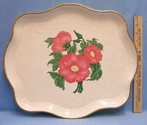 Vintage Hand Painted Tray Platter Flowers Floral Gold Tone Trim Paper Mache