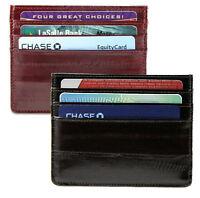 Eel Skin Leather Mens Thin Wallet Front Pocket Credit Card Front Pocket Holder