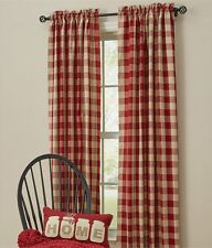 "RED BUFFALO CHECK PANEL SET : 84"" x 72"" COUNTRY TAN PLAID WINDOW CURTAIN WICKLOW"
