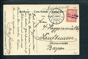 Ned.Indie 1911 prentbk BATAKHUIS naar Bayern met haltestempel GALANG in kader