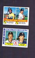 1984 TOPPS BATTING LEADERS #131 WADE BOGGS BILL MADLOCK + Boston Red Sox Leaders