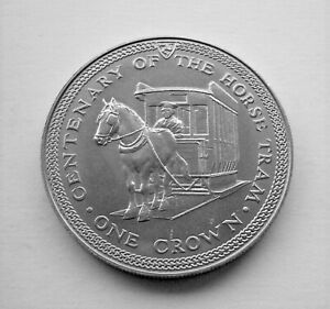 1976 HORSE TRAM CENTENARY CROWN - ISLE OF MAN COIN - IoM MANX