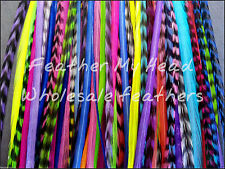 100 NATURAL LONG MIX WHITING GRIZZLY SADDLE FEATHER HAIR EXTENSIONS BRIGHT COLOR