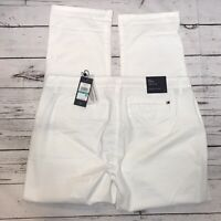 Tommy Hilfiger Hampton Slim Chino Pants Sz 16 White Stretch Mid Rise Cotton NWT