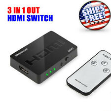 Mini 3 Port HDMI Switch Hub with Remote Control Splitter Box Full HD 3 In 1 Out