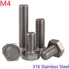M4 - 0.7 316 Stainless Steel Full Thread External Hex Head Bolts Hexagon Screws