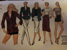VTG 80s VOGUE 7587 Knit Jacket T-Shirt Pants/shorts Skirt PATTERN 12/34B UC