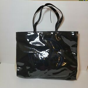 Tory Burch Black Patent Leather Perforated Logo Beige Canvas Tote Bag