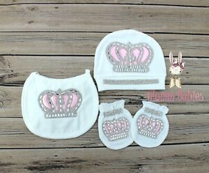 Newborn Baby Girl White Crown Beanie Hat with matching bib & mittens 3 piece set