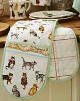 Shabby Chic Vintage Kitchen Double Oven Glove Extra Thick 100% Cotton New CATS